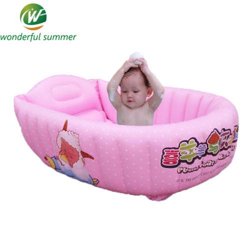 Надувной детский розовый бассейн ванна 110х62х35 см