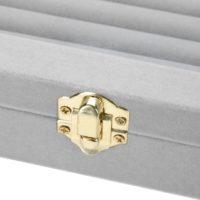 Прямоугольная серая бархатная шкатулка-дисплей с прозрачной крышкой для украшений