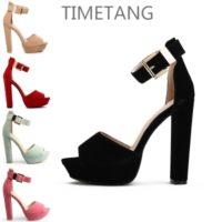 Женские бархатные босоножки-туфли на высоком каблуке 16 см (черные, красные, бежевые)
