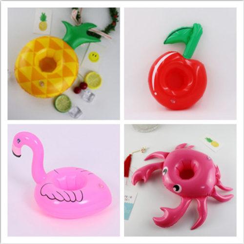 Надувные подстаканники для бассейна в виде фламинго, вишни, губ, краба и других