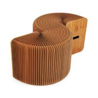 Лавка складная деревянная из крафт-бумаги