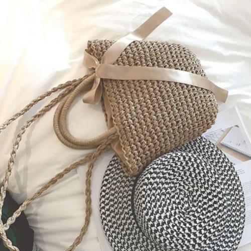 Пляжная летняя женская плетеная сумка из ротанга с бантом