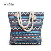 Женская пляжная мягкая большая тканевая сумка на плечо с яркими принтами