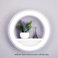 Настенный круглый светильник на дистанционном управлении с регулируемой яркостью света, полочкой и декором для нее