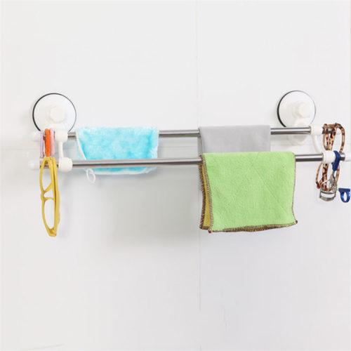 Настенная двойная вешалка держатель на присоске для полотенец в ванную комнату