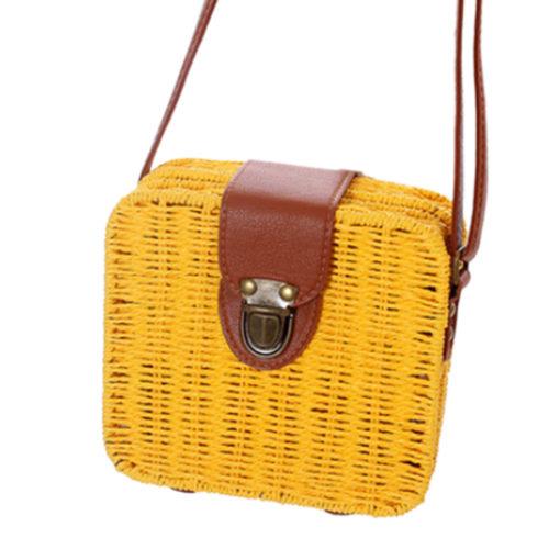Женская летняя квадратная небольшая соломенная сумка кросс-боди через плечо