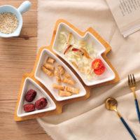 Керамические тарелки-миски на деревянной подставке в виде елки 3 шт.
