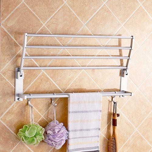 Настенная складная вешалка держатель сушилка из алюминия с крючками для полотенец в ванную комнату