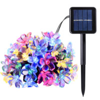 Светодиодная уличная гирлянда с цветами-лампочками на солнечной батарее для сада