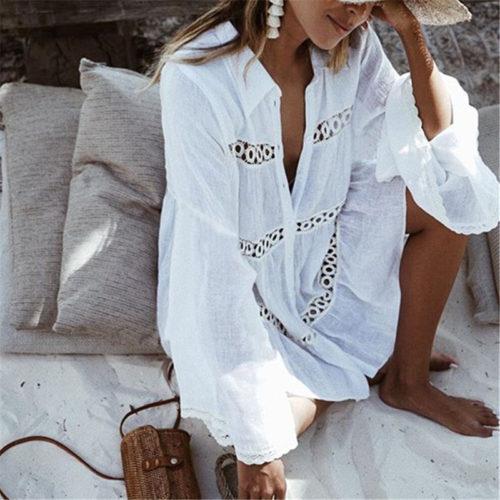 Белая туника платье для пляжа