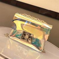 Прозрачная голографическая ПВХ сумка кросс-боди через плечо на золотой цепочке