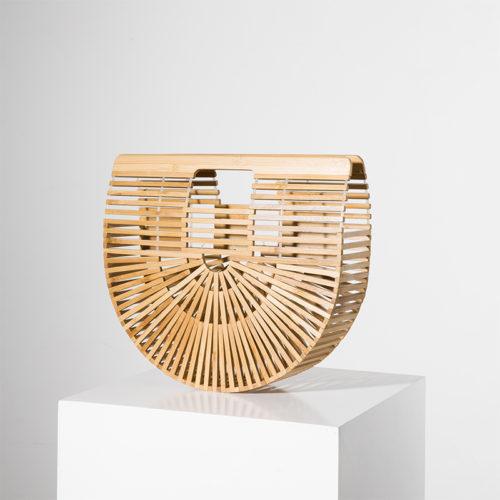 Деревянная летняя полукруглая сумка твердой формы из бамбука