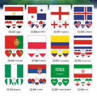 Футбольные временные наклейки татуировки с флагами разных стран