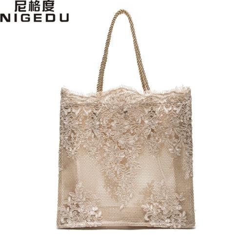 Летняя мягкая сумка шоппер из кружева с цветочным рисунком