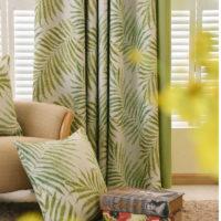 Шторы с тропическими листьями папоротника