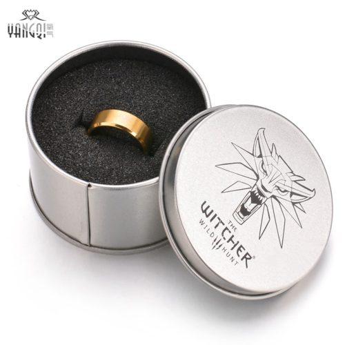 Черное или золотое мужское кольцо Ведьмак с изображением волка и надписью The Witcher