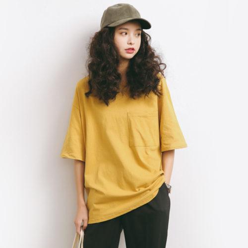 Женская свободная футболка оверсайз Oversize с карманом