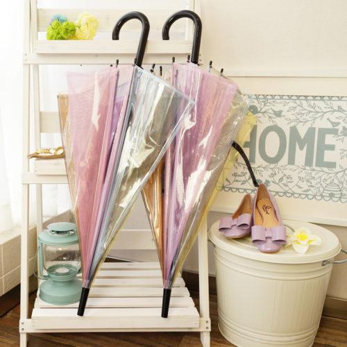 Прозрачный женский зонт трость