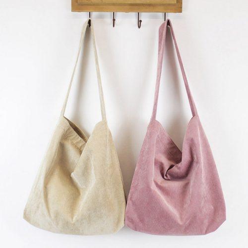 Тканевая вельветовая эко-сумка шоппер мешок на кнопке для покупок