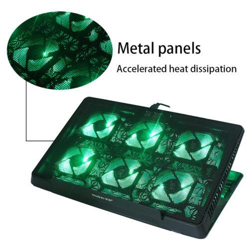Охлаждающая регулируемая USB подставка кулер с 6 светодиодными вентиляторами для ноутбука 14-17″