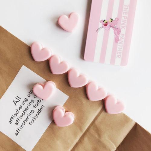 Розовые милые прищепки зажимы в виде сердечек 10 шт.