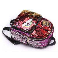 Женский школьный рюкзак с пайетками и нашивками