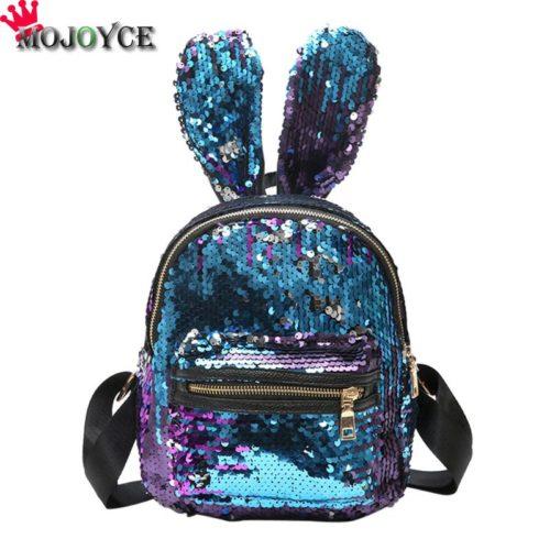 Женский маленький рюкзак с ушками кролика и пайетками