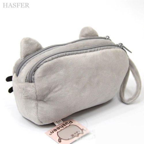 Мягкий плюшевый серый пенал в виде кота Pusheen cat