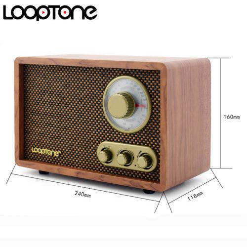LoopTone Деревянный настольный винтажный ретро AM/FM Hi-Fi радиоприемник