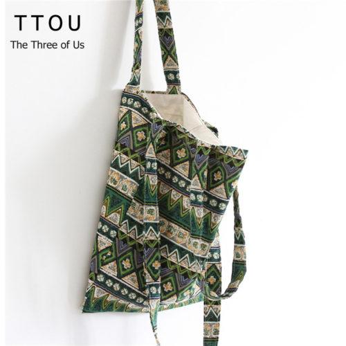 Тканевая эко-сумка шоппер мешок в стиле бохо для покупок