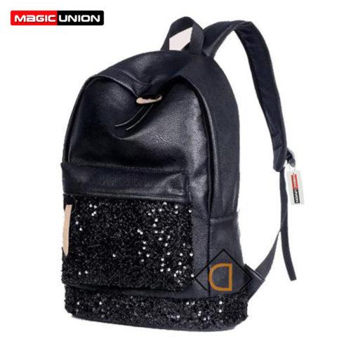 Женский черный школьный кожаный рюкзак с пайетками