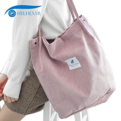 Тканевая вельветовая эко-сумка шоппер на кнопке для покупок