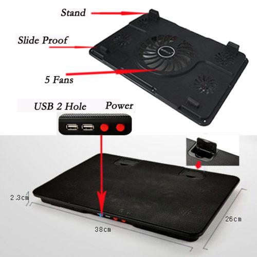 Охлаждающая USB подставка кулер с вентиляторами для ноутбука