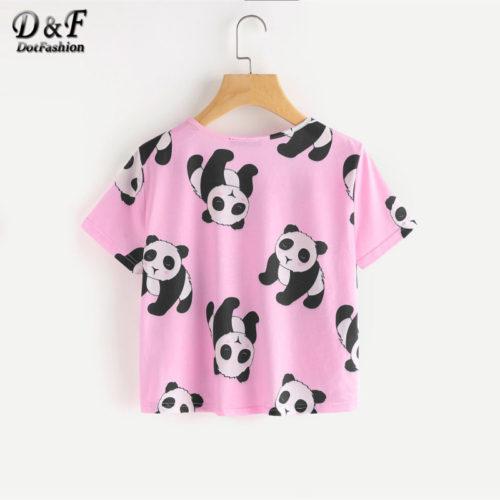 Женская розовая пижама с пандами (футболка + шорты)