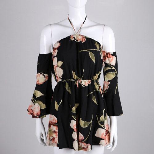 Женский летний черный комбинезон с шортами, открытыми плечами, широкими рукавами и цветочным принтом