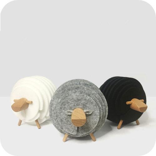 Фетровые круглые подставки под горячую кружку на стойке в виде овцы