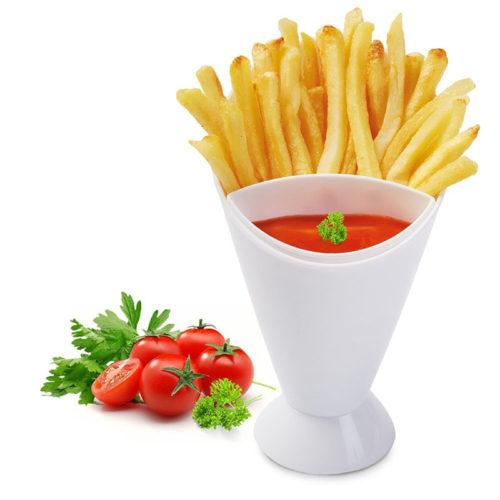 Стакан кубок с отделениями для картофеля фри и соуса к нему