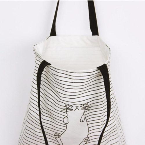 Тканевая многоразовая белая эко-сумка шоппер в полоску с котом для покупок