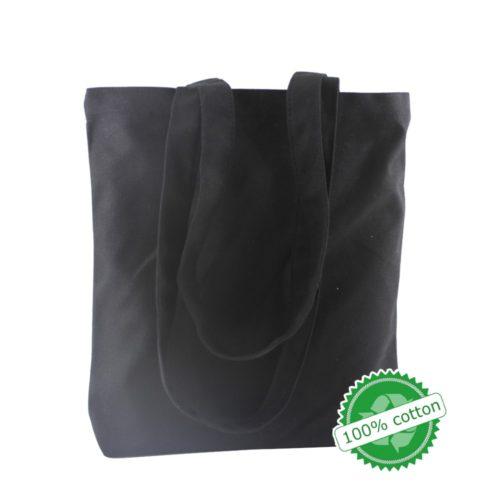 Тканевая многоразовая черная или белая эко-сумка шоппер без рисунка для покупок