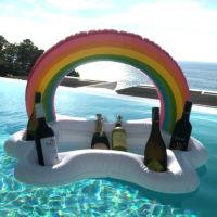 Надувной поднос с подстаканниками в виде облака с радугой для бассейна