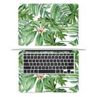 Наклейка пленка на весь ноутбук Macbook с рисунком зеленых тропических листьев