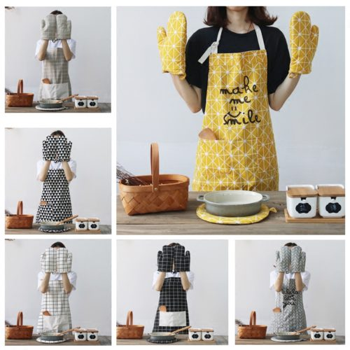 Кухонный комплект из фартука, прихваток и подставки под горячее