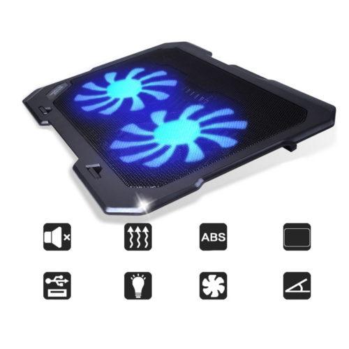 Охлаждающая USB подставка кулер с 2 вентиляторами и подсветкой для ноутбука 11-16″