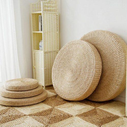 Соломенная круглая напольная подушка (5 размеров на выбор)