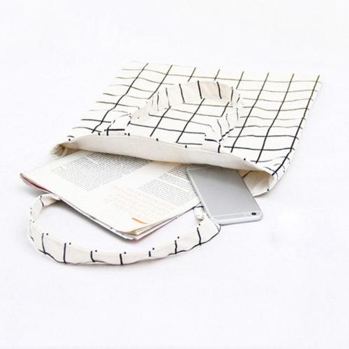 Тканевая серая, черная или белая эко-сумка шоппер в клетку для покупок на каждый день