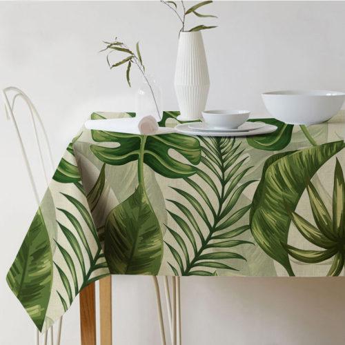 Красивые квадратные или прямоугольные скатерти на стол с зелеными растениями