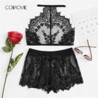 Кружевной женский черный комплект белья пижама (шорты и топ)