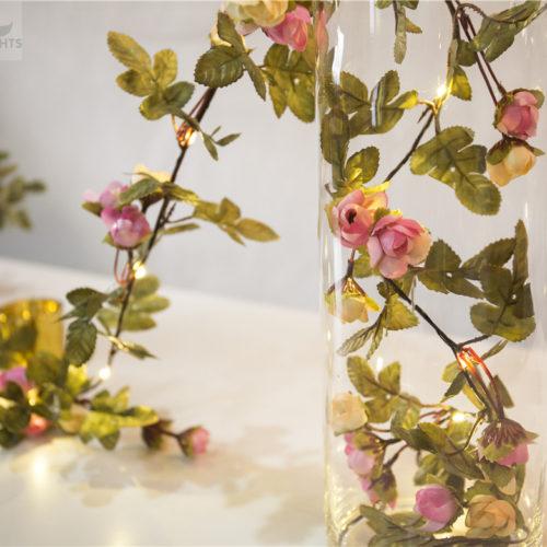 Светодиодная гирлянда с листочками и цветами 2/5/10 м