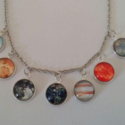 Ожерелье цепочка с круглыми подвесками в виде планет