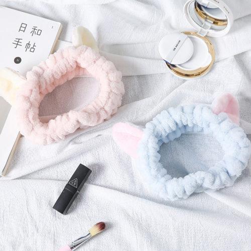Женская повязка на голову с ушками для косметических процедур